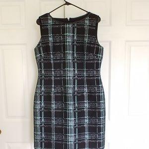 Tahari black blue plaid dress 10
